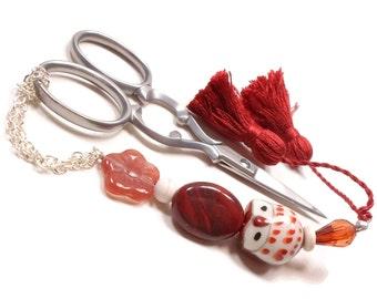 Owl Scissor Fob Beaded Rust Cinnamon Red Orange Cross Stitch Needlepoint Sewing Quilting Scissor Minder Scissor Keeper