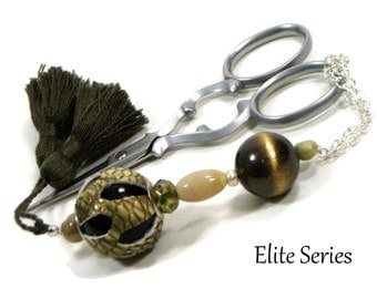 Beaded Scissor Fob Olive Green Leather Scissor Keeper Needlepoint Cross Stitch Sewing Accessory Quilting Accessory
