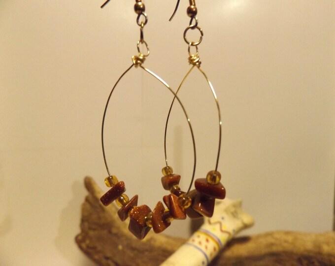 Brown Gold Stone & Glass bead Healing Earrings, Healing Crystal and Gemstone Jewelry, Healing Jewelry, Healing Crystal and Stones