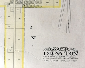 1906 Rare Large Antique Map of Drayton, Wellington County, Ontario