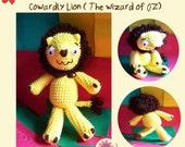 Instant Download Amigurumi Crochet PDF Pattern - Cowardly Lion ( The wonderful wizard of oz )