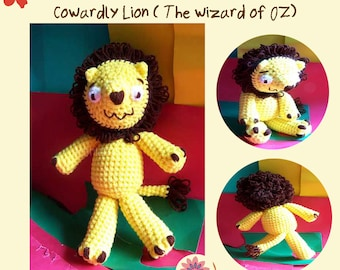Instant Download Amigurumi Crochet PDF Pattern - Cowardly Lion ( The wonderful wizard of oz )