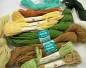 Vintage Bucilla Persian Wool Skein, Needlepoint & Crewel Persian Wool Skein, Mixed Colors, Warm Tones, 12 Skein, Destash