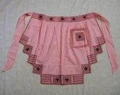 Vintage Apron, Apron with Embroidery, Pink Gingham Apron, Fancy Apron, Pink and Purple