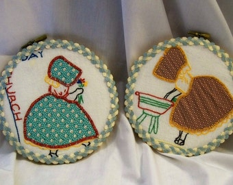 Hoop Art, Sunbonnet Sue, Embroidered Hoop Art, Hand Embroidery, Laundry Day, Church Day, Upcycle