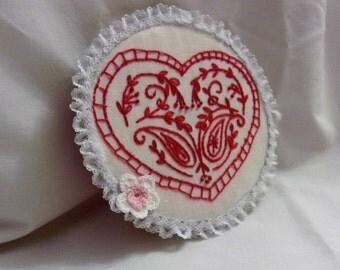 Embroidery Hoop Art, Embroidery, Hoop Art, Embroidery Hoop Wall Art, Red Work Embroidery, Red Heart