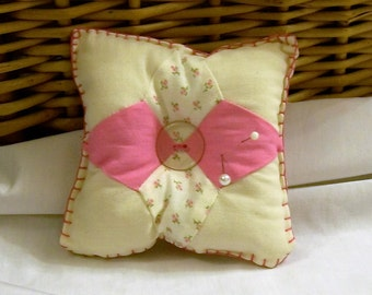 Pincushion, Needle Holder, Pins and Needle Holder, Pink and White, Sewing Supplies, Pretty Pincushion
