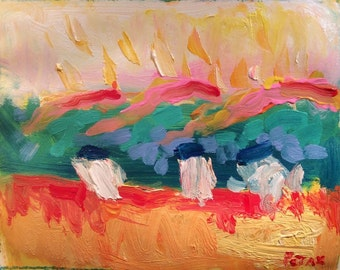 Modern  Contemporary Art | interior design | Abstract Painting from Variations of a Theme series Turquoise yellow pink | ORIGINAL 11x14