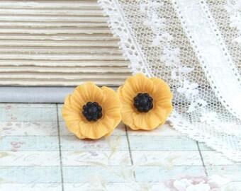 Yellow Poppy Earrings Yellow Flower Studs Yellow Poppy Studs Surgical Steel Studs Yellow Flower Earrings