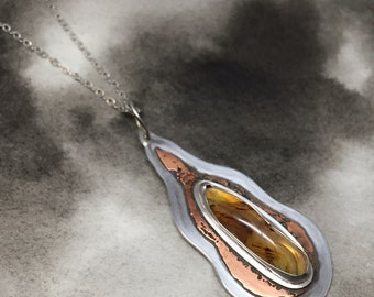 Villieldr sterling silver and copper flame pendant with Lake Superior agate