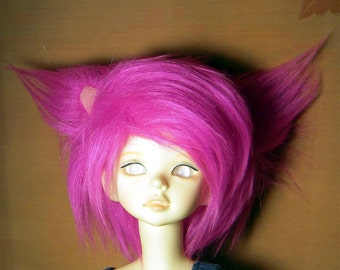Hot pink cat ear fake fur size 7-8 wig for MSD, 1/4 bjd DOLL(Limited)
