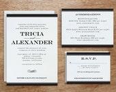 Printable Wedding Invitation Template | INSTANT DOWNLOAD | Black Stripe | DIY | Editable Adobe pdf | Black & White Response - Info Card Set