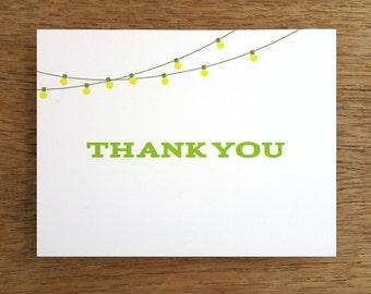 Printable Thank You Card - Thank You Card Template - Print & Fold Thank You - String Light Thank You Note - Thank You Card PDF  Download