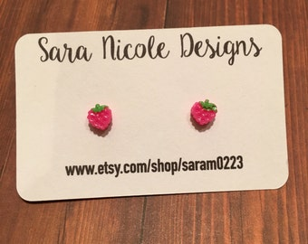 Tiny strawberry earrings - babies - kids - toddlers - girls - small - 8mm