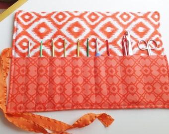 Crochet Needle Organizer / Makeup Roll Up Organizer / Orange Print / Sewing Tools Organizer