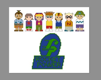 Rocket Power Pixel People Character Cross Stitch PDF PATTERN ONLY