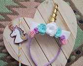 Unicorn Headband | Gold Horn, Pastel Flowers | Costume, dress up, photo shoot, prop