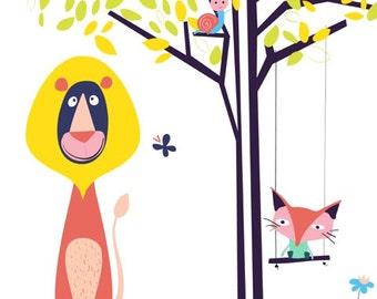 Lion and fox Nursery art print  - don't forget to play - Woodland Nursery Art, Fox decor, lion decor, baby nursery decor, nursery wall art