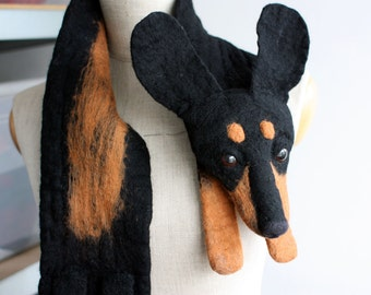 Dog - felted wool animal scarf