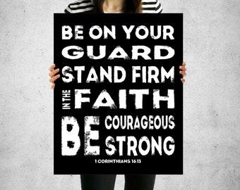 1 Corinthians 16:13, Christian Teen Decor, Christian Teen Poster, INSTANT DOWNLOAD, Scripture Poster, Teen Bible Verse Art, Teen Scriptures