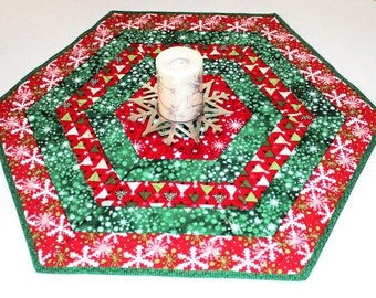 Quilted Table Runner, Christmas Hexagon Table Topper, Red, White, Green Snowflakes, Table Topper Quilt