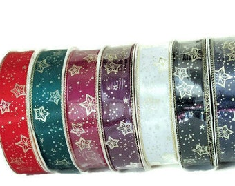 68 yards of Celestial Ribbon !  7 colors, Wright's Gold Metallic stars and edge,Quiltsy Destash Party Green, Red, White, More Colors