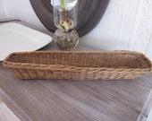 Antique vintage large sturdy French bread basket for baguettes