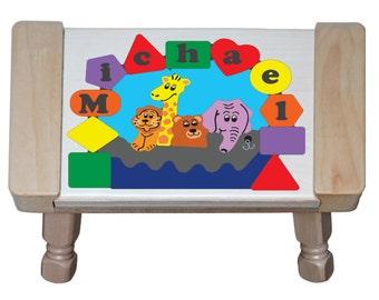 Personalized Name Primary Puzzle Noah S Ark Animal Theme Giraffe Bear Lion Elephant Stool Preschool Toddler