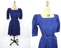 1980s dress vintage 80s blue denim button down puff sleeve dress S/M