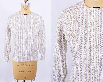 1960s blouse vintage 60s purple plum novelty print long sleeve blouse M