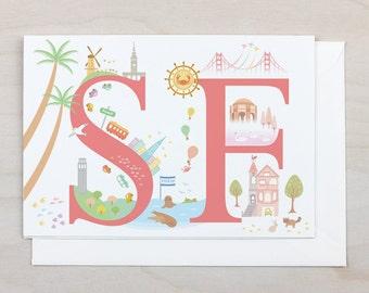 SF Greeting Card - San Francisco, Golden Gate Bridge, California, Wine, Coit Tower, Blank, Gift, Holiday