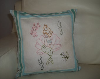 "Embroidered Mermaid Pillow 12"" x 12"" Pillow"