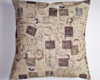 SUMMER SALE - Handmade Throw Pillow Cover, Romantic Correspondence Cushion Cover, Romance of Travel Postage Stamps Accent Pillow Cover