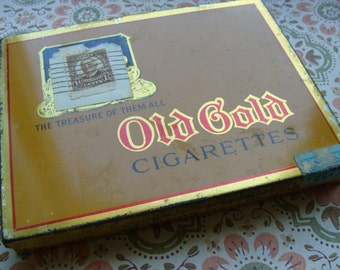 Antique Old Gold Cigarette Hinged  Tin