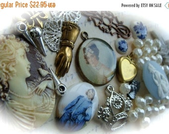 20PercentOff 50pcs Victorian Cameos and Steampunk Metal and Treasures for Altered Art and Jewelry Lot No18