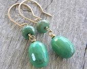 Green Opal and Gold Drop Earrings, Mint Green Stone Earrings