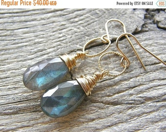 Summer Sale Labradorite and Twist Circle Gold Earrings, Simple Gold and Blue Flash Stone Earrings