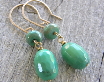 Green Opal and Gold Drop Earrings, Mint Green Stone Earrings