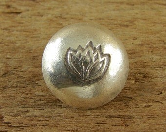 Lotus Button - Hill Tribe Fine Silver - Perfect For Leather Wrap Bracelets - htblb