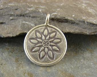 Lotus Blossom Mandala Pendant - Hill Tribe Fine Silver - Thai Silver Pendant - htlbm