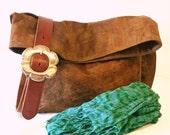 Vegan Crossbody Bag in Honey Mustard Faux Suede, Foldover Crossbody Bags, Vegan Suede Bag