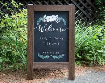 Rustic Chalkboard Sandwich Board Welcome Wedding Sign Blank 2nd Side Bride & Groom's names with Date and Wedding Hashtag