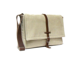 "13"" / 15"" MacBook Pro Retina messenger bag - light beige"