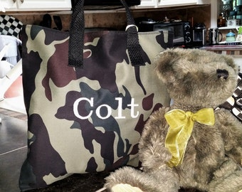 Green Camo Child Tote / School Tote / Book Travel Bag / Overnight Bag / Embroidered with Childs name