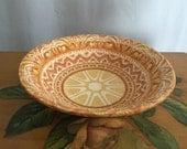 Antique Bowl Vintage Ceramic White Orange Brown Yellow Distressed Rustic Sun Home Decor