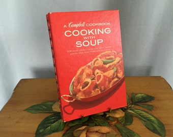 Cooking with Soup Vintage 1972 Campbell's Cookbook Red Hardcover Spiral Recipes