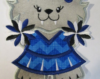 Wildcat Cheerleader - Iron On or Sew On Embroidered Custom Made Applique