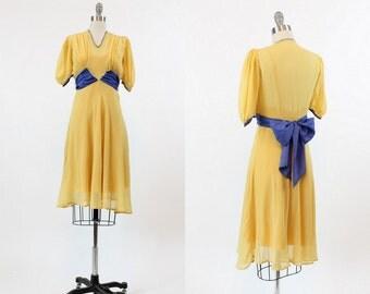 30s Dress Silk XS / 1930s Vintage Dress Colorblock  / The Belle Dress