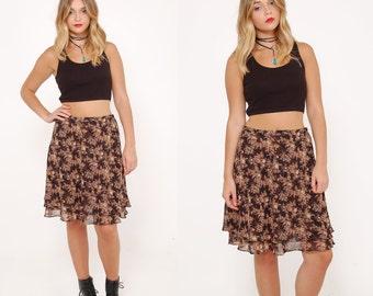 Vintage 90s DITZY Floral Mini Skirt Boho Mini Skirt Tiered 90s REVIVAL Skirt GRUNGE Floral Skirt