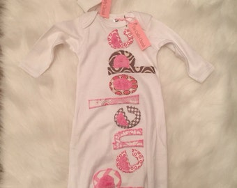 Personalized infant gown, infant hat with flower applique, applique gown, girl layette, coming home outfit
